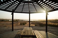 Gazebo. View from a Gazebo with Zakher lake framed . Shot in Zakher lake, Al ain, UAE Royalty Free Stock Image