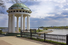 Gazebo on the Volga River, Yaroslavl, Russia.  royalty free stock photography