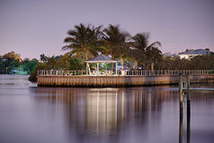 Gazebo on water in florida state at night Stock Photos