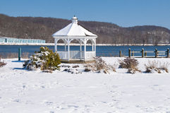 Gazebo in winter. Gazebo on the Connecticut River ready for warmer weather Stock Photo