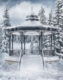 Gazebo in the winter forest Royalty Free Stock Photos