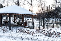 Gazebo in the winter royalty free stock image