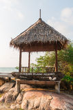 Gazebo wood and  information woode board near the sea at Mon Nork Island resort Royalty Free Stock Photography
