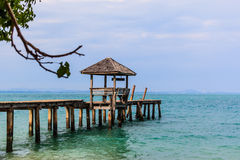 Gazebo and wood jatty in Koh Samet Royalty Free Stock Image