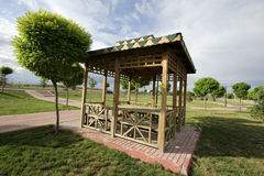 Gazebo. Wooden gazebo in the park open to the public Royalty Free Stock Images