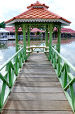 Gazebo. A wooden gazebo on the water Royalty Free Stock Images