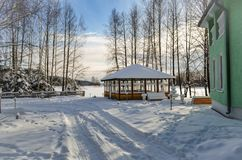 Gazebo in the forest in winter stock photos
