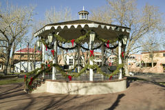Gazebo wrapped in Christmas d�cor is in park in Old Town of Albuquerque, New Mexico Stock Image