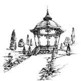 Gazeboen skissar stock illustrationer