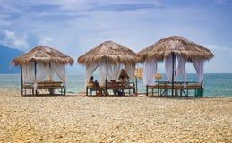 Gazebos della spiaggia Fotografie Stock Libere da Diritti