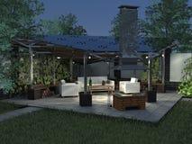 Gazebosommarnatt med panelljuset Arkivbild
