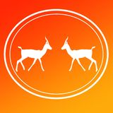 Gazelle Chinkara Logo Image Background Icon. On Yellow Orange  Gradient Background for websites, web pages, posters, banners, presentation, wallpapers , button royalty free stock photos