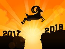 Gazelle jumping into next year 2018. A gazzelle jumping from year 2015 to year 2017 - New Year 2017 is coming. Happy New Year 2017n Stock Photos