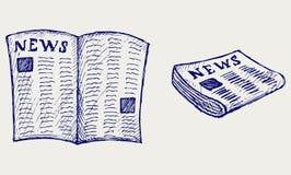 Gazeta. Doodle styl royalty ilustracja