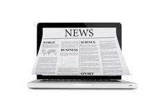 Gazeta z laptopu Obrazy Stock