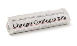 Gazeta z nagłówkiem Zmienia przybycie w 2018 obraz stock