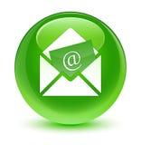 Gazetka emaila ikony szklisty zielony round guzik Fotografia Stock