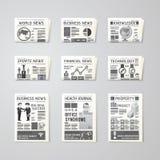 Gazetowego dziennego płaskiego wektoru projekta ustalony szablon biznes, zdrowie, Zdjęcia Stock