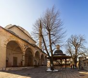 Gazi Husrev土侯清真寺在萨拉热窝 库存照片