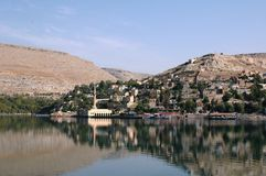 Gaziantep in the reservoir. And the story of the artificial lake at the ancient city of Zeugma is hosting Royalty Free Stock Photos