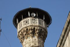 Gaziantep, Turkey carved a minaret. A work dating from the Ottoman Stock Photos
