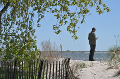 Gazing into the horizon. Man gazing into the horizon at a beach. He is facing the ocean and contemplating it. Trees, fences, sand and a blue sky are part of the Royalty Free Stock Photos
