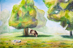 Gazing horse under a tree. Watercolor painting of a horse eating grass with two big trees and a fireplace Stock Photography