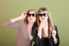 Gazing Mom And Daughter Royalty Free Stock Photos