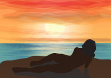 Gazing at the sunset. A silhouette of a girl laying on a cliff ald looking at sunset. Vector illustration Stock Photos