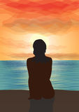 Gazing at the sunset. A silhouette of a girl sitting on a cliff ald looking at sunset. Vector illustration Stock Image