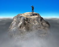 Gazing on top of euro symbol shape rocky mountain Stock Photos