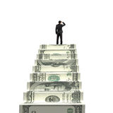 Gazing on top of money stairs. Isolated in white background Royalty Free Stock Photography