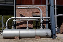 Gazoline reservoir Bois du Cazier, Marcinelle, Charleroi, Belgium. Gazoline or petrol reservoir or supply  at the former industrial coal mining site of Bois du royalty free stock images
