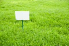 Gazon z zieloną trawą i plakieta na gazonie Fotografia Royalty Free