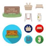 Gazon z znakiem, kosz z jedzeniem, ławka, huśtawka Parkuje ustalone inkasowe ikony w kreskówce, mieszkanie stylowy wektorowy symb ilustracji