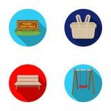 Gazon z znakiem, kosz z jedzeniem, ławka, huśtawka Park ustalone inkasowe ikony w mieszkanie stylu symbolu wektorowym zapasie ilustracja wektor