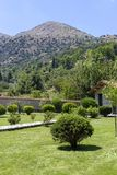 Gazons, struiken en bomen in het park stock afbeeldingen