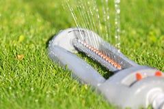 Gazonsproeier die water over groen gras castreren Stock Foto's