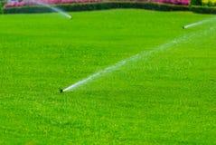Gazonsproeier die water over groen gras castreren Irrigatiesysteem Stock Afbeeldingen