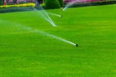 Gazonsproeier die water over groen gras castreren Irrigatiesysteem Stock Foto's