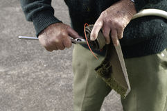 gazonu mężczyzna seniora drobiażdżarka Obraz Stock