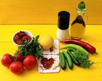 gazpacho汤的成份 免版税库存图片