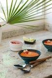 gazpacho ανασκόπησης κουζίνας εστίασης πορτοκαλιών εκλεκτικό ισπανικό κρασί ρυζιού paella κόκκινο Ανδαλουσιακή κρύα σούπα που εξυ Στοκ Φωτογραφίες