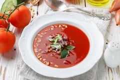 gazpacho Γαστρονομική σούπα ντοματών με τα φρέσκα λαχανικά Στοκ Εικόνες