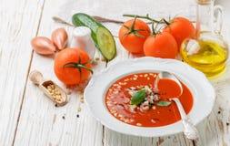 gazpacho Γαστρονομική σούπα ντοματών με τα φρέσκα λαχανικά Στοκ Φωτογραφία