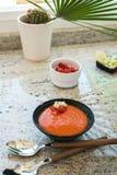 gazpacho вино красного риса paella померанцев фокуса кухни предпосылки селективное испанское Андалузский холодный суп, который сл Стоковое фото RF