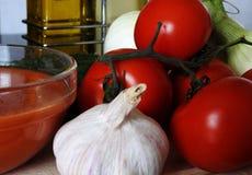 做安达卢西亚的gazpacho的成份 免版税库存照片