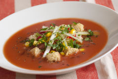 Gazpacho. Freshly made gazpacho topped with vegetables and croutons Stock Photography