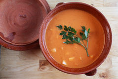 Gazpacho Andaluz. Andalusian gazpacho in a clay pot. It is a cold Spanish tomato-based raw vegetable soup Stock Photography