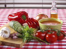 Gazpacho Andaluz. Is a raw vegetable soup native from the Spanish region Andalucia. It is served cold as starter Stock Photos